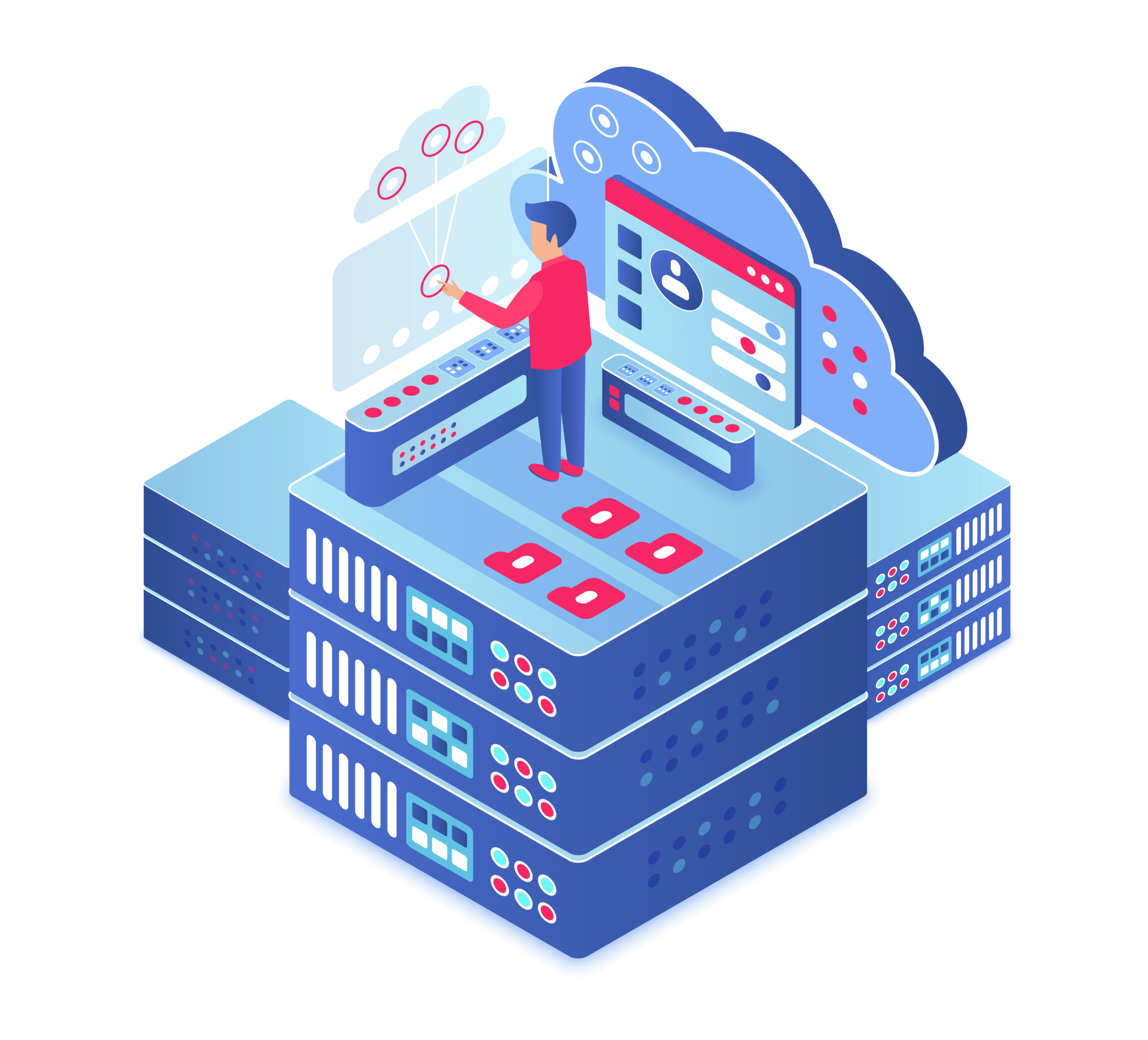 Cloud computing isometric vector illustration. Information storage technology. Server maintenance. Upload and share information service. Digital platform. Database cartoon conceptual design element